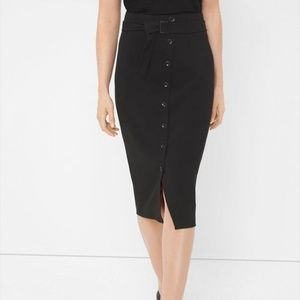 White House Black Market Button-Front Pencil Skirt
